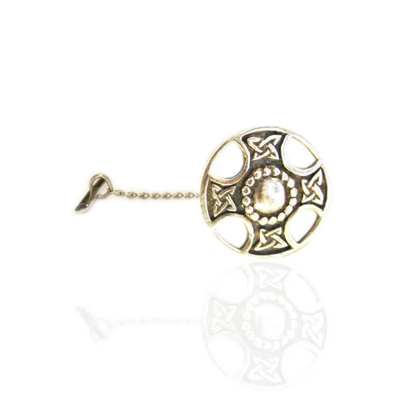Celtic Cross Tie Tack in Silver