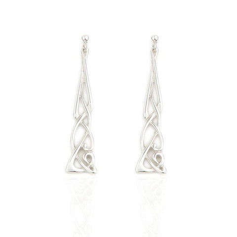 Celtic Drop Earrings In Silver