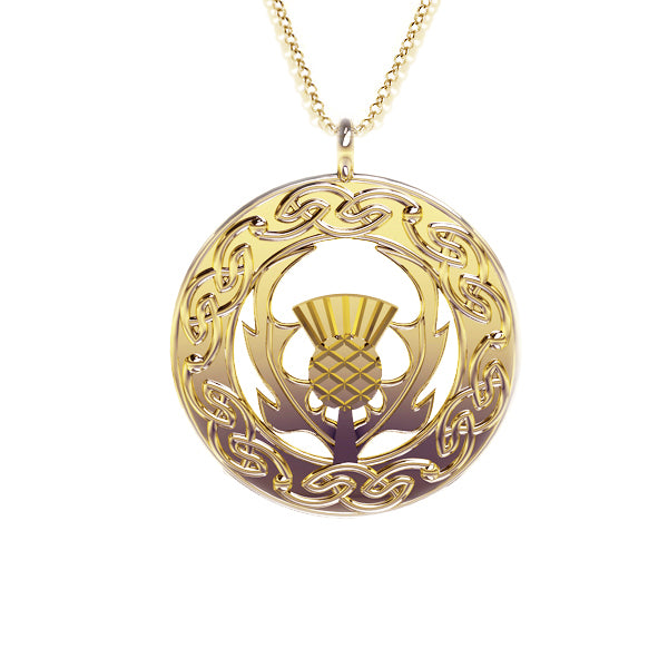 Scottish Thistle Celtic Flow Pendant in gold