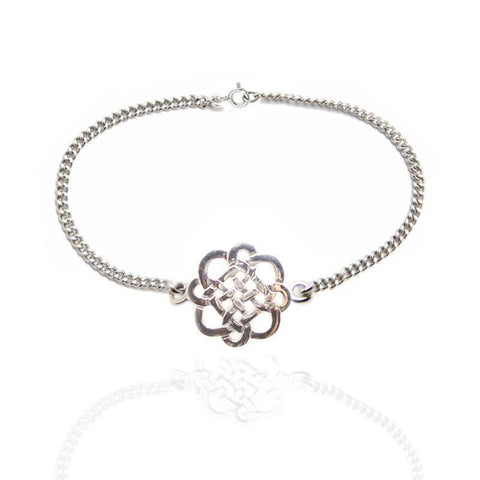 Celtic Knot Interlace Chain Bracelet in Silver