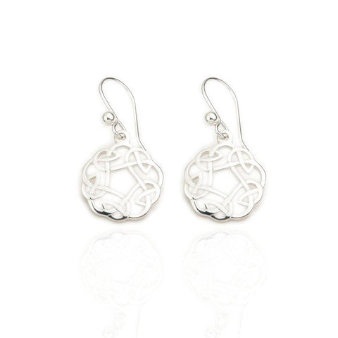 Celtic Knotwork Drop Earrings In Silver