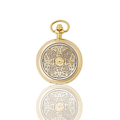 Celtic Knotwork Mechanical Pocket Watch In Gold