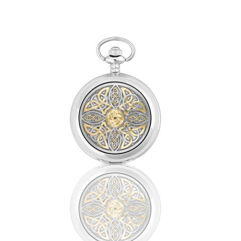 Celtic Knotwork Mechanical Pocket Watch In Pewter