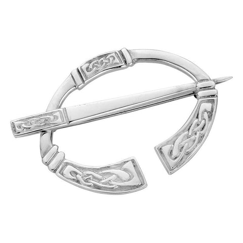 Celtic Knotwork Panels Penannular Brooch In Silver