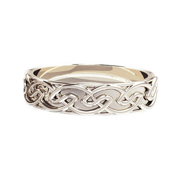 EDINBURGH CELTIC KNOT WORK WEDDING RING in White Gold