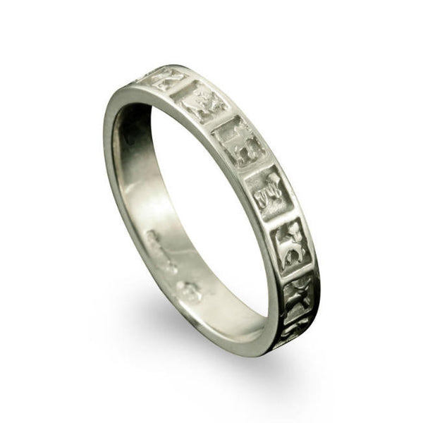 Celtic Moone Cross Animals Ring Platinum