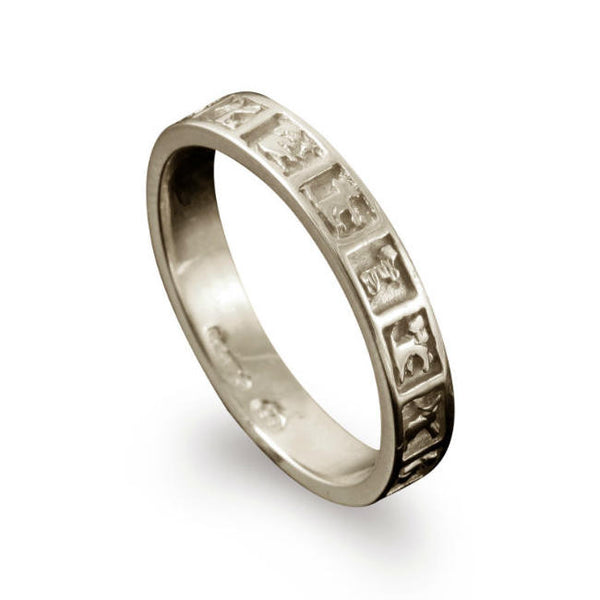 Celtic Moone Cross Animals Ring White Gold
