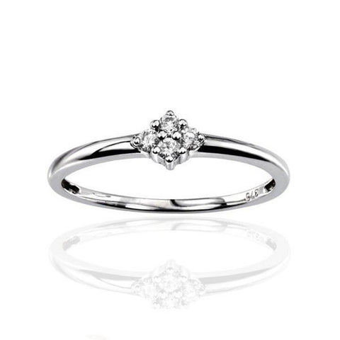 Four Stone Cluster Diamond Engagement Ring in White Gold