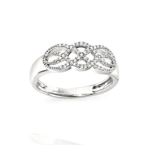 Diamond Ring with Celtic Pave Detail in White Gold