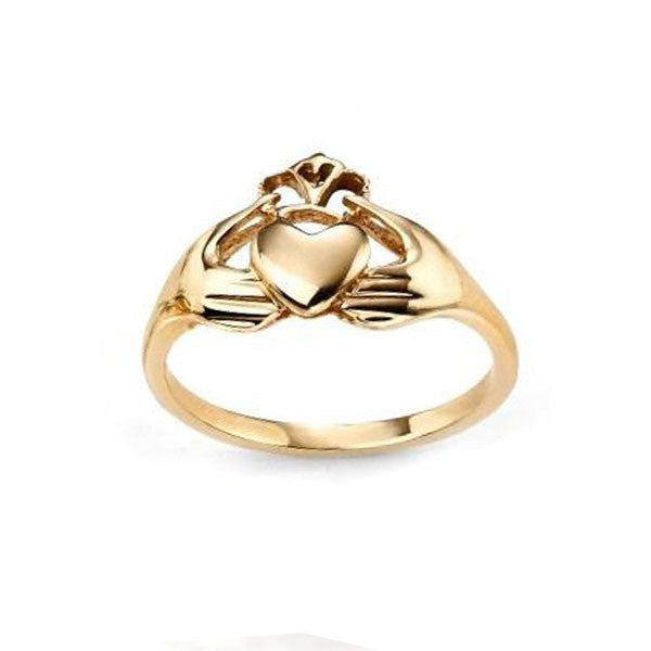 Claddagh Heart Ring with Crown in Yellow Gold