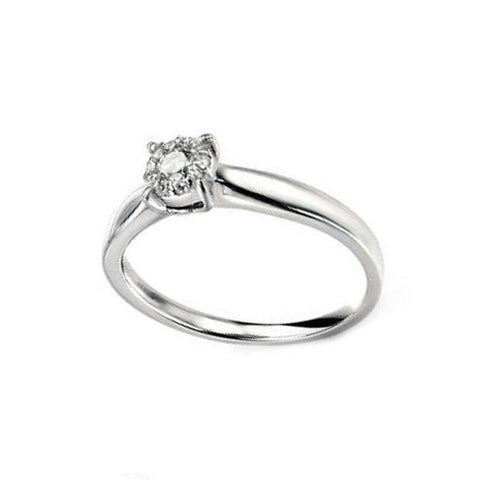 Claw Set Diamond Cluster Engagement Ring in White Gold