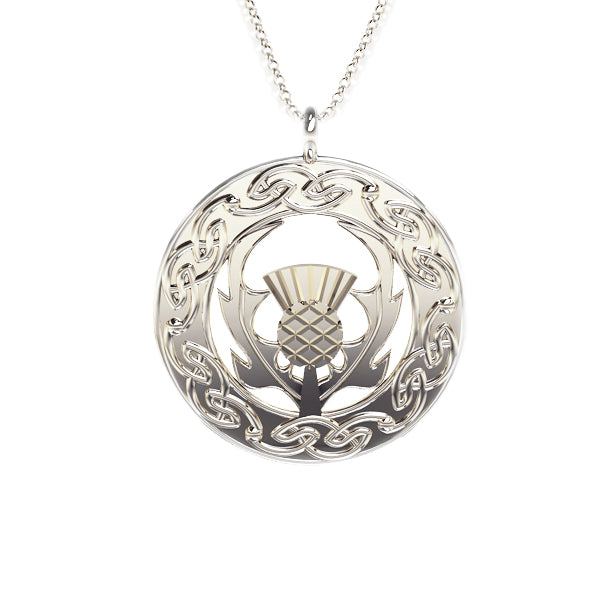 Scottish Thistle Celtic Flow Pendant in silver