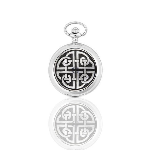 Celtic Square Knotwork Quartz Pocket Watch In Pewter