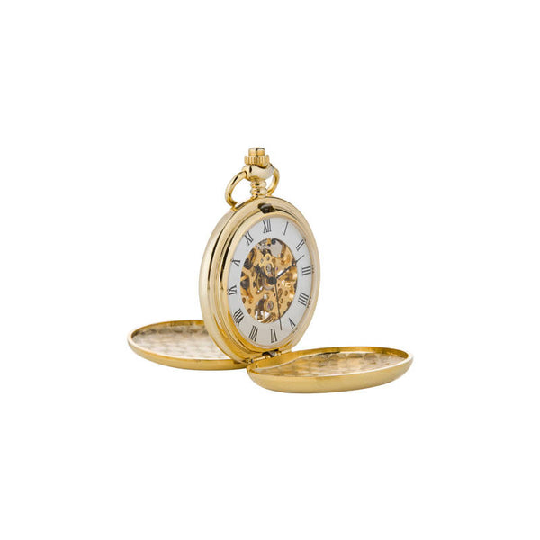 Celtic Thistle Knotwork Mechanical Pocket Watch In Gold Open
