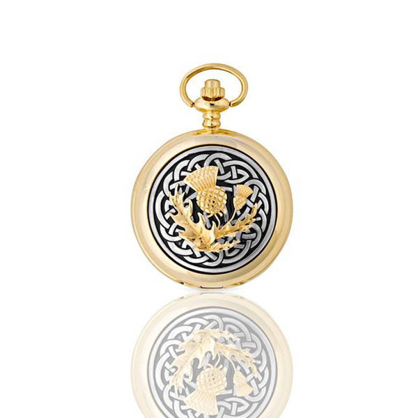 Celtic Thistle Knotwork Mechanical Pocket Watch In Gold