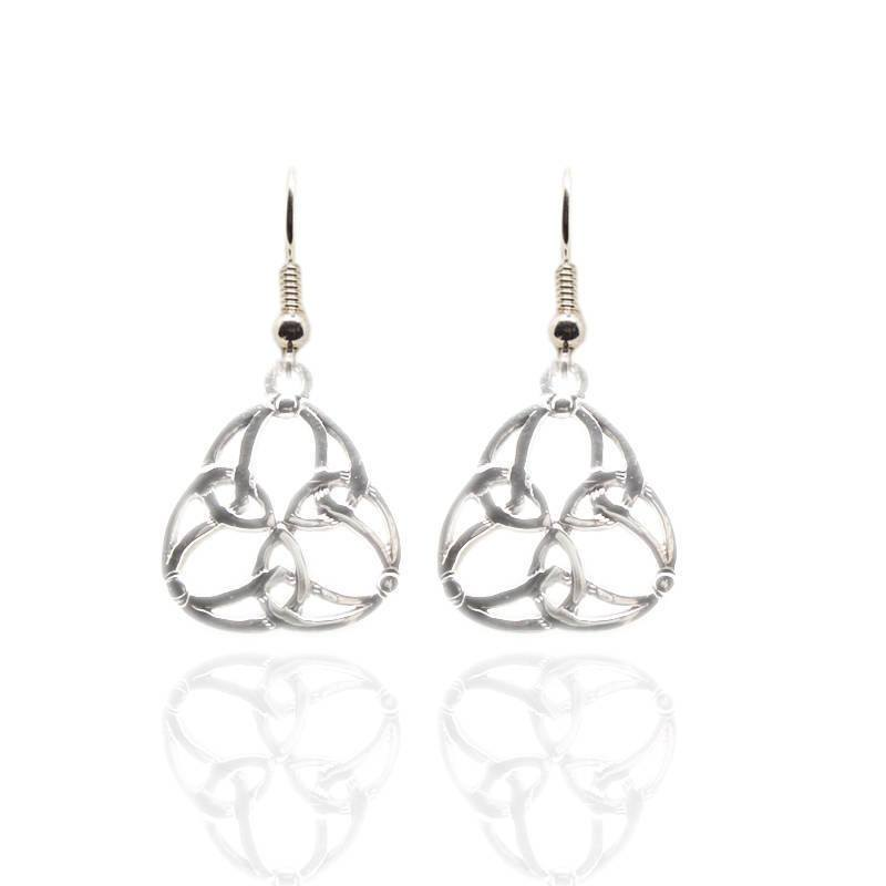 Celtic Trinity Knotwork Earrings in Silver