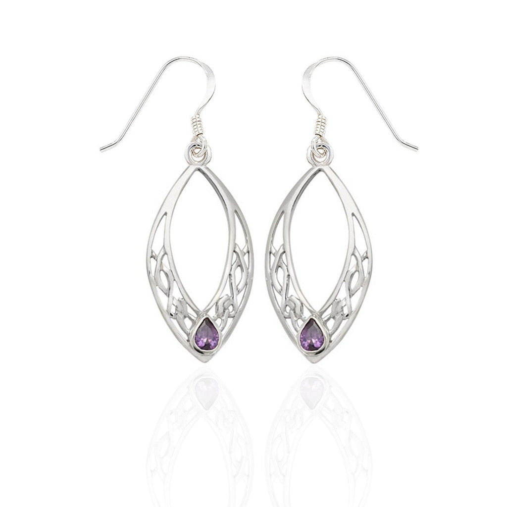 Sterling Silver Celtic Marques Drop Earrings with Amethyst