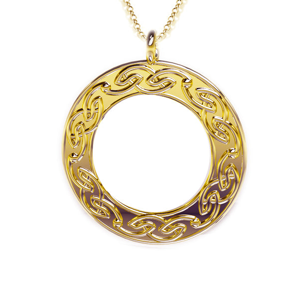 Open Celtic Flow Round Pendant in gold