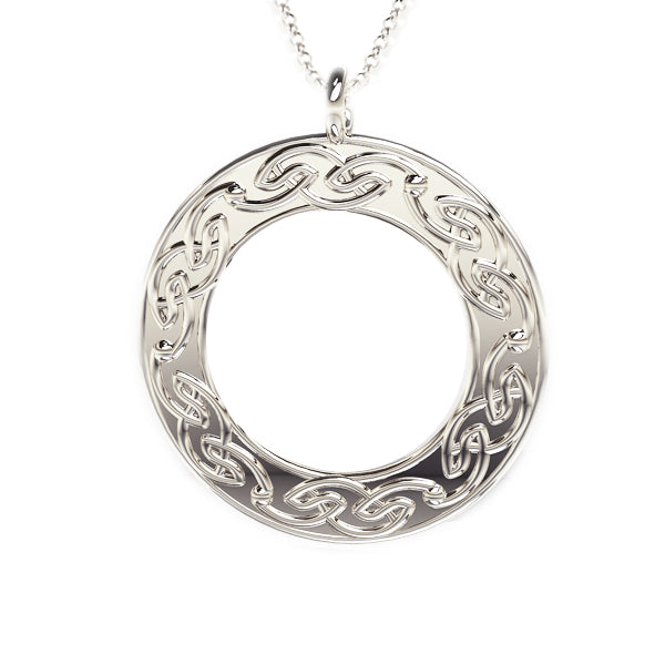 Open Celtic Flow Round Pendant in silver
