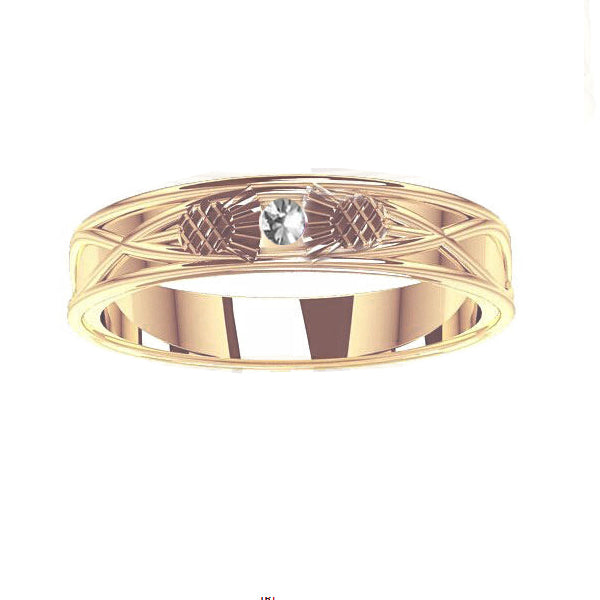 Scottish Thistle Celtic with Tube Set Diamond Wedding Ring in yellow gold