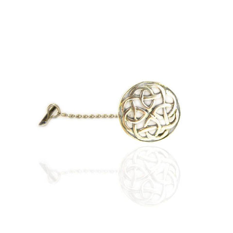 Circular Celtic Knot Tie Tack in Silver