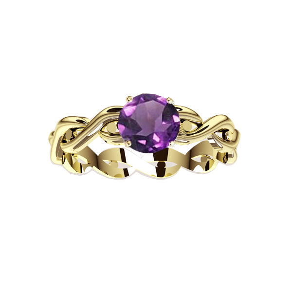 Edinburgh Celtic Twist Amethyst Ring in gold