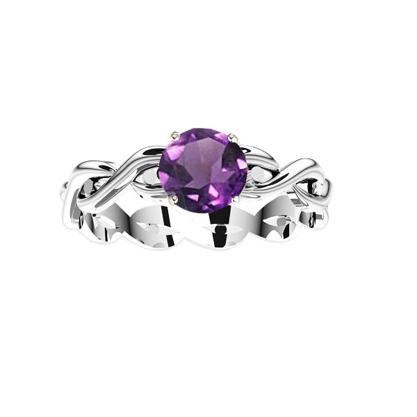Edinburgh Celtic Twist Amethyst Ring in silver