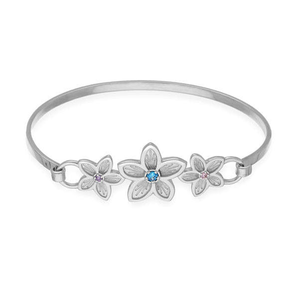 Cubic Zirconia Flower Bangle In Silver