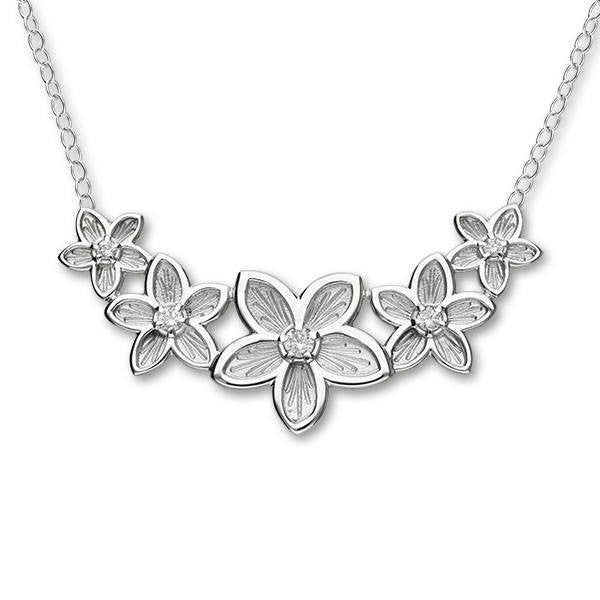 Silver Five Flower Necklace  with White Cubic Zirconia