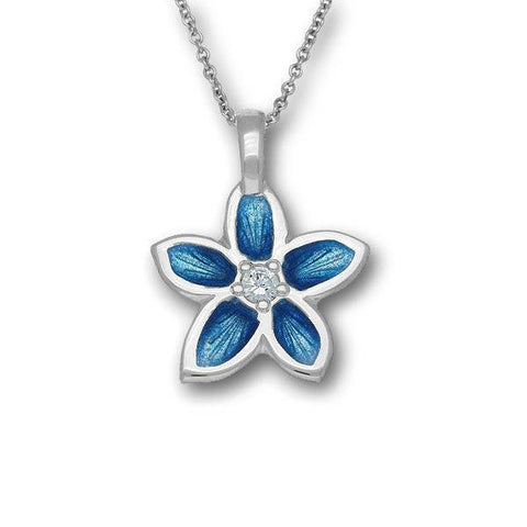Silver Flower Pendant in Marine Blue with Cubic Zirconia