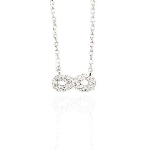 Sterling Silver Small Infinity Necklace with Pave Set CZs