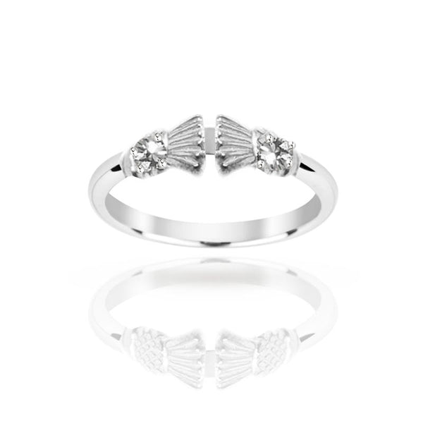 Traditional Edinburgh Scottish Thistle Torque Ring with Two Diamond in white gold