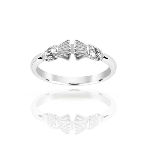 Traditional Edinburgh Scottish Thistle Torque Ring with Two Diamond
