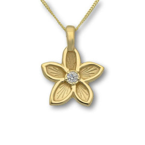 Gold Flower Pendant with White Diamond