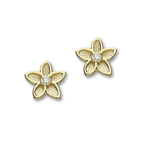 Gold Flower Stud Earrings with White Diamond