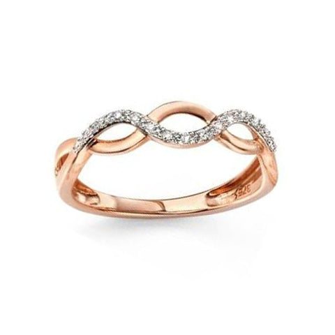 Diamond Pave Intertwined Ring in Rose Gold