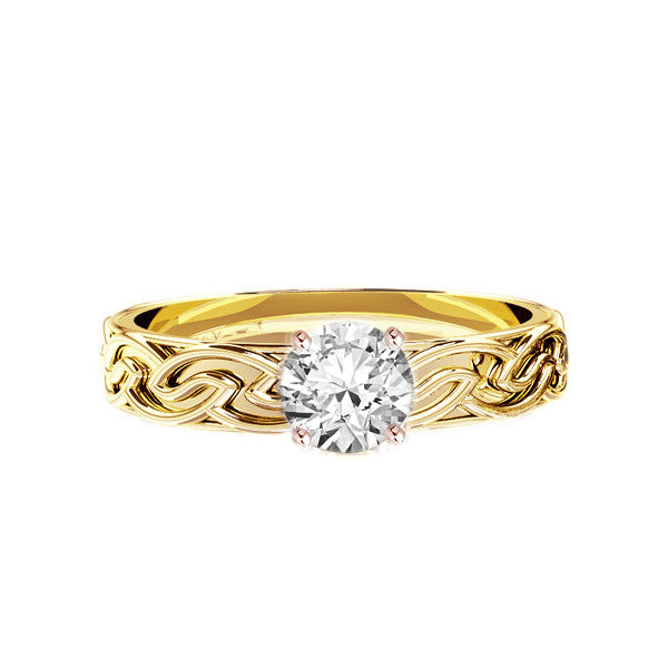 Unique Handmade Edinburgh Celtic Knot work Engagement Ring in gold