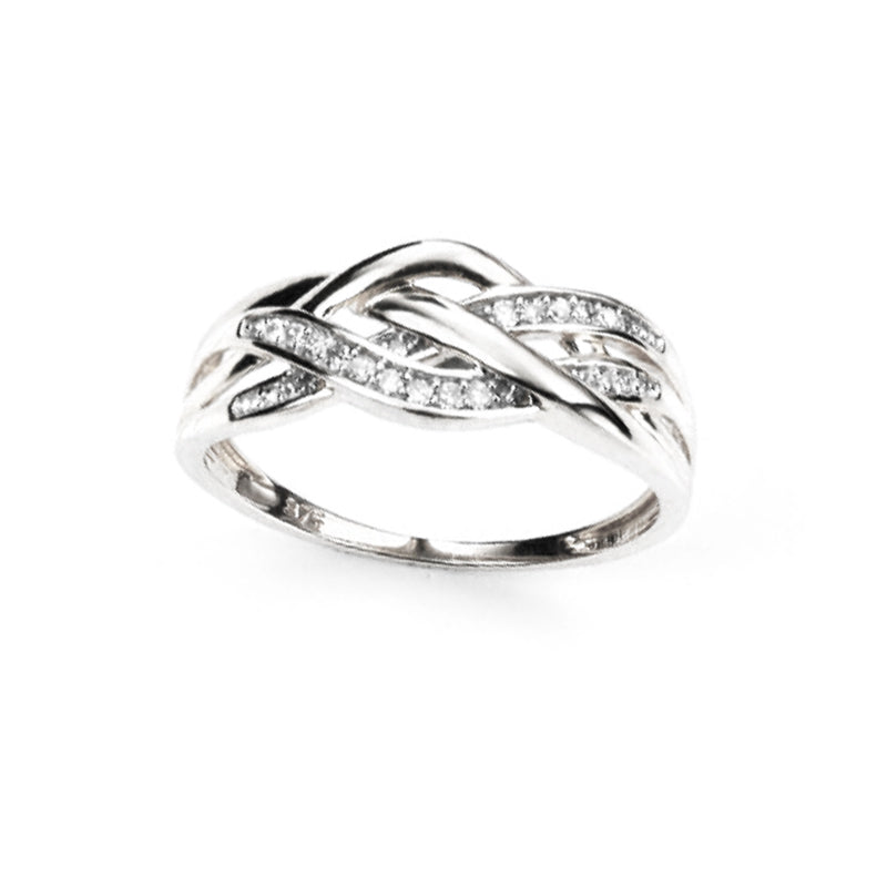 Celtic Weave Ring with Diamonds in White Gold