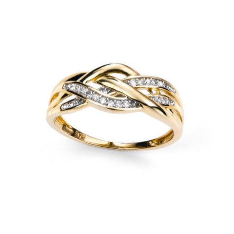 Celtic Weave Ring with Diamonds in Gold