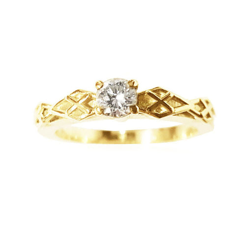 Diamond Plaid Engagement Ring in Yellow Gold