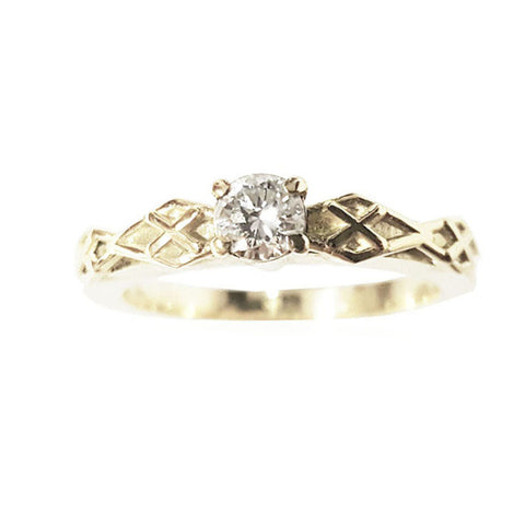 Diamond Plaid Engagement Ring in White Gold