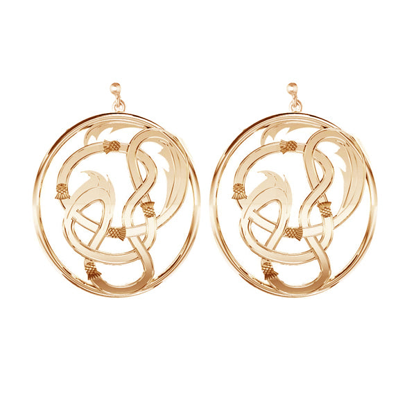 EDINBURGH FLOW SCOTTISH CELTIC STUD THISTLE DROP EARRINGS IN GOLD