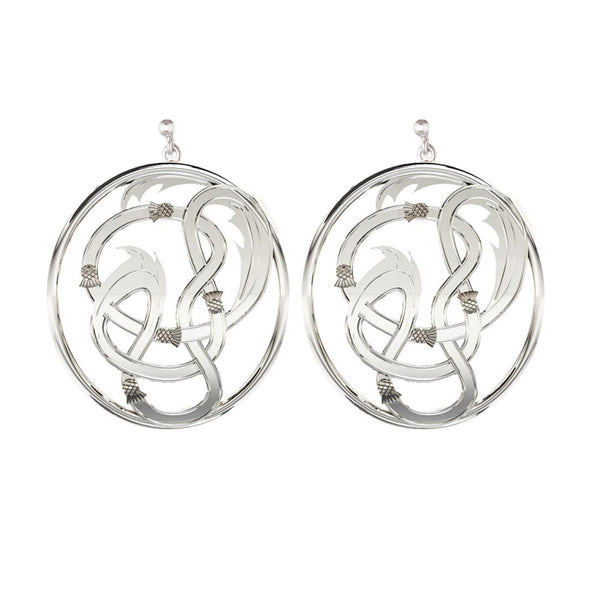 EDINBURGH FLOW SCOTTISH CELTIC STUD THISTLE DROP EARRINGS IN SILVER