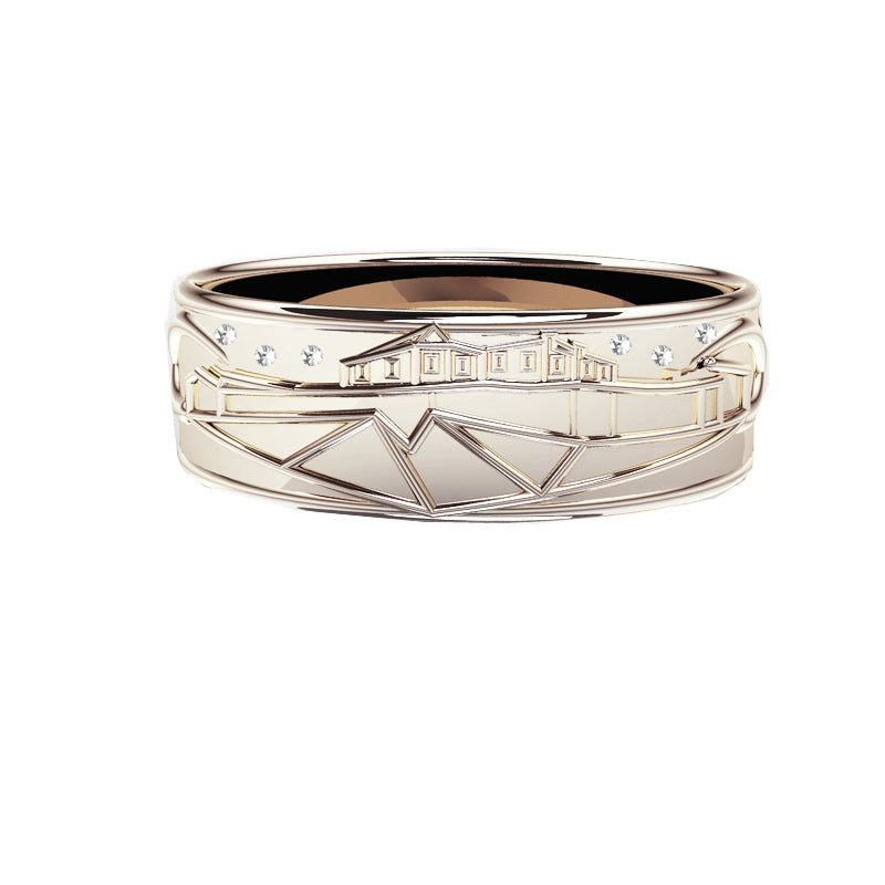 Edinburgh Castle Wedding Ring with Diamond Stars