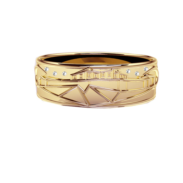 Edinburgh Castle Wedding Ring with Diamond Stars in yellow gold