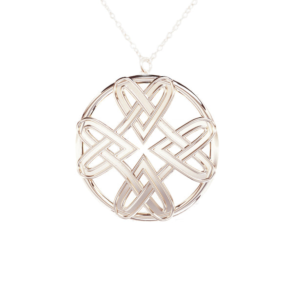 Four Heart Celtic Infinity Pendant in silver