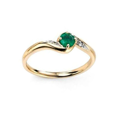 Pave Diamond & Emerald Swirl Engagement Ring in Yellow Gold