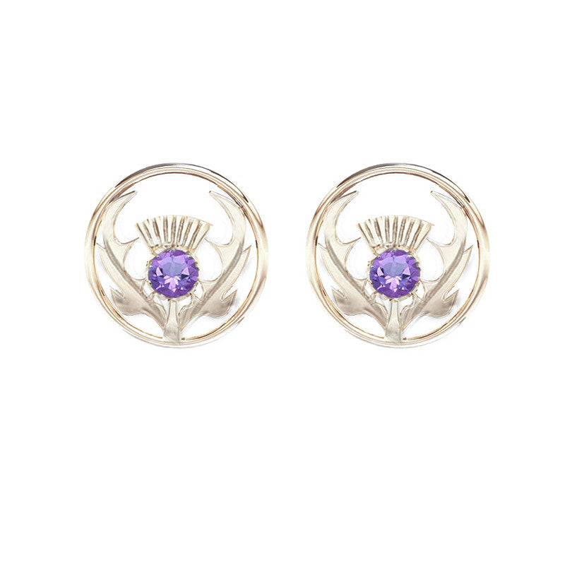 Round Scottish Thistle Stud Earrings in Silver with Amethyst