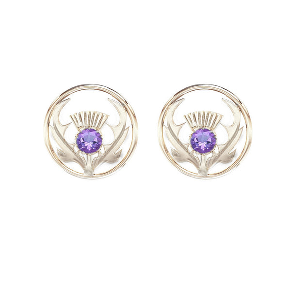 Round Silver Scottish Thistle Stud Earring in Silver with Amethyst