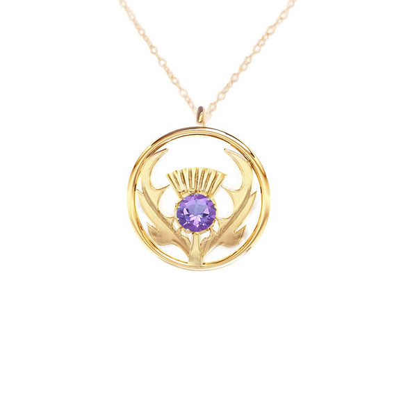 Round Scottish Gold Thistle Necklace in Gold with Amethyst